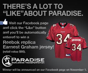 "Click here to ""Like"" Paradise Worldwide Transportation and be registered to win."