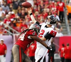Bucs defensive end Adrian Clayborn wasn't always able to drill Matty Ice last week.