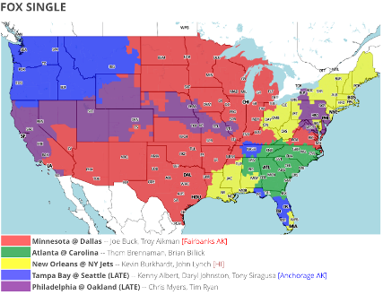 Bucs at seahawks tv map joebucsfan tampa bay bucs blog below is the map detailing where bucs fans can watch the bucs play the seahawks free via their over the air local fox affiliate areas in blue will be able sciox Gallery