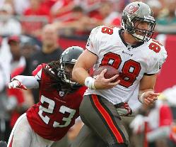 Bucs TE Luke Stocker's job security took a hit when the Bucs drafted Washington TE Austin Seferian-Jenkins in the second round Friday.