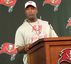 You can bet Bucs coach Lovie Smith won't have his defensive ends covering scatbacks in pass coverage this season.