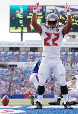 Bucs RB Doug Martin celebrates after scoring his short -yardage touchdown in the win over Buffalo. Photo courtesy of Buccaneers.com.