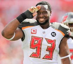 It is really a salute to Gerald McCoy that he can play so well and get zero help from edge, game after game after frustrating game. Photo courtesy of Buccaneers.com.