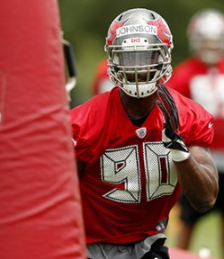"The eyes of the ""Custodian of Canton"" are focused on Bucs DE Michael Johnson."