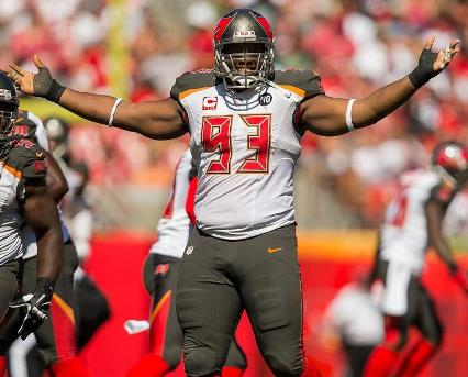 A day after signing the richest contract in the NFL for a defensive tackle, Bucs DT Gerald McCoy recorded two tackles and a half-sack. Photo courtesy of Buccaneers.com.