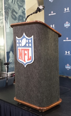 Sometime today, quarterback Jameis Winston will step up to this here podium at Lucas Oil Stadium.