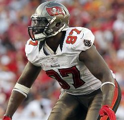 New Bucs DE George Johnson, shown here in his first go-round with the Bucs, went off on Twitter yesterday about teams no focused on winning.