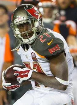 Alterraun Verner looks for a running lane after his pick of puking Andy Dalton. Photo courtesy of Buccaneers.com.