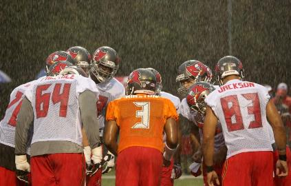 Bucs coach Lovie Smith expects the team to practice somewhere, sometime Sunday. Photo courtesy of Buccaneers.com.
