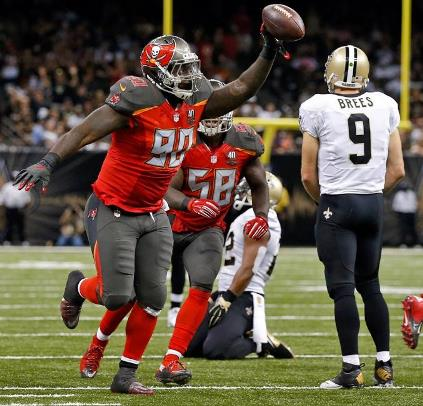It was impressive how Henry Melton and the Bucs defense shut down Sants QB Drew Brees in crunch time. (Photo courtesy of Buccaneers.com)