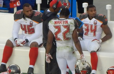 Doug Martin was dialed in on the sidelines even after gaining 200+ yards and Sunday's game in hand