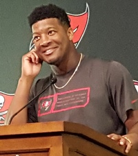 Jameis works his charisma.