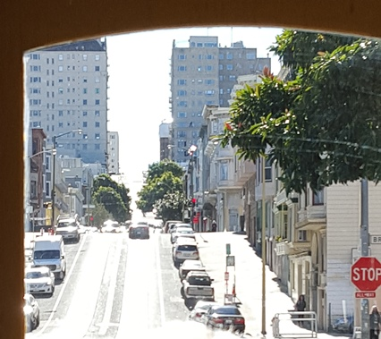 One of the rolling hills in San Francisco while on a cable car.
