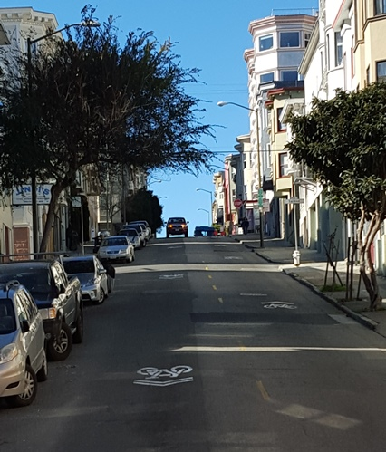 One of the steep hills of San Francisco while gliding through the city on a cable car.