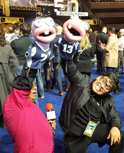 International reporters seem to have more fun at NFL events like Super Bowl Opening Night.