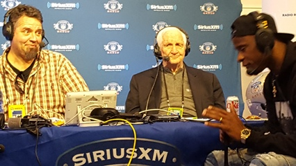 "If joe didn't know any better, he would swear Ike Taylor (right) passed gas by the reaction of SiriusXM NFL Radio ""Late Hits"" co-hosts Alex Marvez and Gil Brandt."