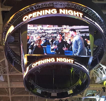 NFL Network being piped in on the JumboTron during Super Bowl Opening Night at the SAP Center in San Jose, home of the San Jose Sharks