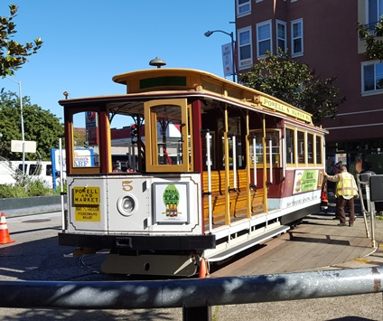 A San Francisco icon, a cable car, which when it hits the end of the line, has to be manually turned by around an attendant for the return trip.