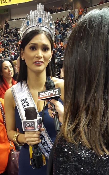 Miss Universe seems petrified talking to BSPN. Understandable.