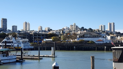The skyline of San Francisco as seen from Pier 39.
