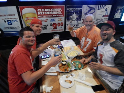 First table to arrive at Joe's 2016 NFL Draft party at Draft Picks in Clearwater