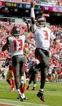 Bucs WR Mike Evans and QB Jameis Winston celebrate a touchdown yesterday. (Photo courtesy of Buccaneers.com)